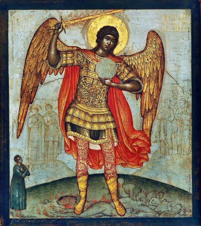 悪魔を踏んでいる大天使ミカエルのイコン