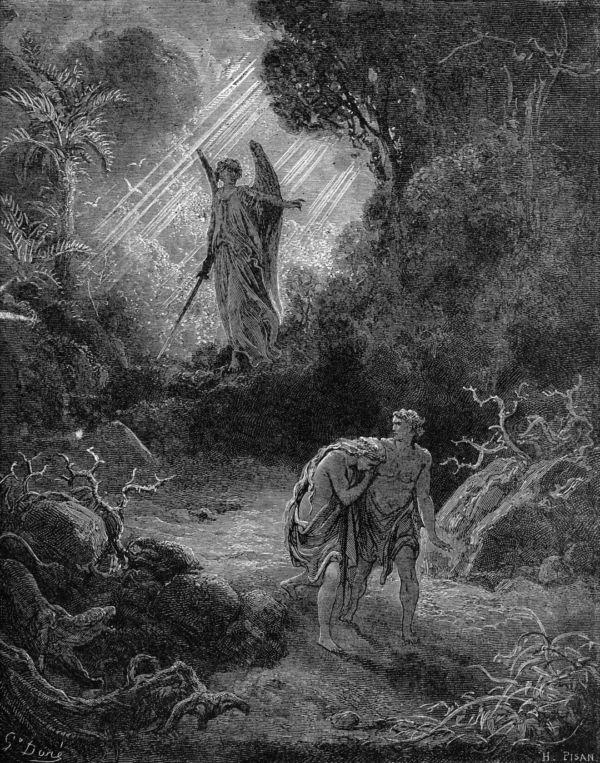 楽園から追放されるアダムとエバ(ギュスターヴ・ドレ画)