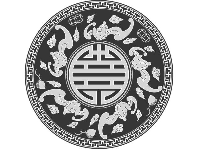 吉祥紋様 五福臨門 五福円盤 コウモリ