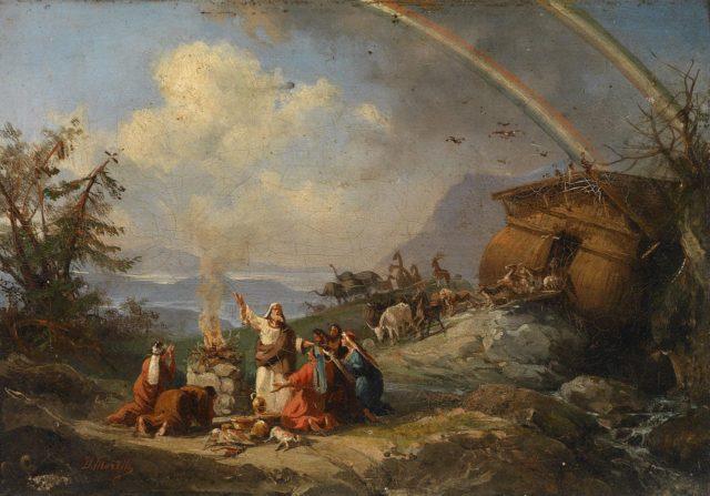 『方舟を出た後のノアによる感謝の祈り』ドメニコ・モレッリ作